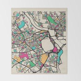 Colorful City Maps: Arlington County, Virginia Throw Blanket