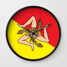 Flag of Sicily - Sicilian Flag Wall Clock