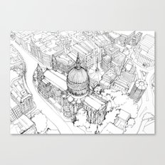 Aerial Drawing of St.Paul's Cathedral, London Canvas Print