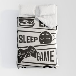 Eat Sleep Game Repeat | Video Game Console Gaming Comforters