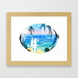 Vintage polynesian tribal Surf Art Framed Art Print