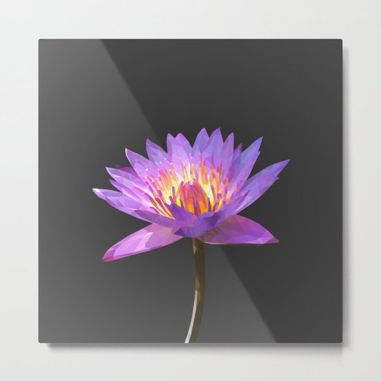 Purple Lotus Flower Geometric style Metal Print