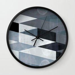 blue abstract, abstract art, office art, contemporary art, geometric print, modern painting, mid cen Wall Clock
