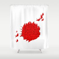 japan Shower Curtains featuring japan by Sophie Rousseau