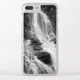 Waterfall, black and white photo Clear iPhone Case