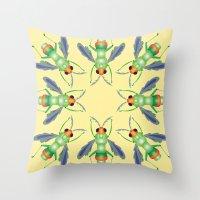 bug Throw Pillows featuring Bug by MinaSparklina