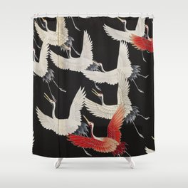 Furisode with a Myriad of Flying Cranes (Japan) Shower Curtain