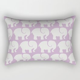 Troop Of Elephants (Elephant Pattern) - Gray Purple Rectangular Pillow