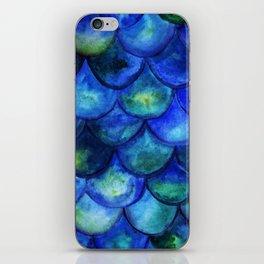 Blue Watercolor Mermaid iPhone Skin