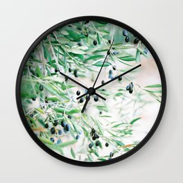 Olive branches in the Provence | French Riviera olive tree | Romantic travel photo art Wall Clock