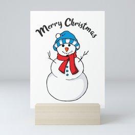 Cute Merry Christmas Holiday Snowman graphic Mini Art Print