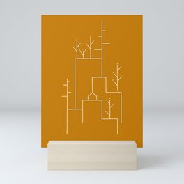 line art town Mini Art Print