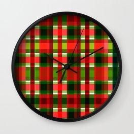 Christmas Plaid Wall Clock