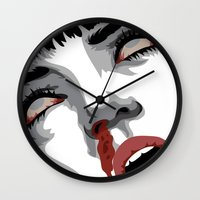 mia wallace Wall Clocks featuring There goes mrs. Mia Wallace by The Headless Fish