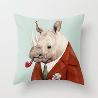 rhino Throw Pillows featuring Rhino by Animal Crew