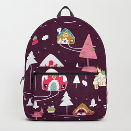 gingerbread house Purple #Christmas #Holiday Backpack