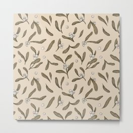 Mistletoe Pattern Metal Print