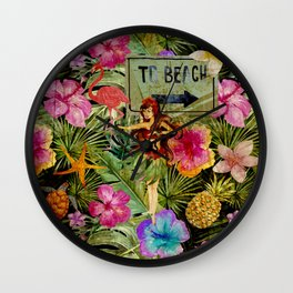 Tropical Vintage Exotic Jungle Beach Party on #Society6 Wall Clock