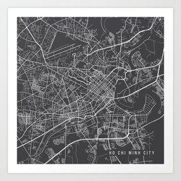 Ho Chi Minh City Map, Vietnam- Gray Art Print