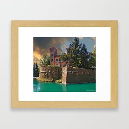 To shore of a placid river Framed Art Print