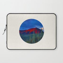 Mid Century Modern Round Circle Photo Red Mountain Sunset With Field of Green Cactus Laptop Sleeve