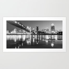 Panoramic View of Cincinnati Ohio - Black and White City Skyline Art Print