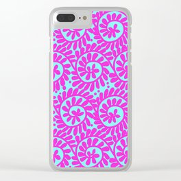 Circular Design Pink & Turquoise Clear iPhone Case