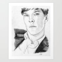 cumberbatch Art Prints featuring Benedict Cumberbatch by Alessia Pelonzi