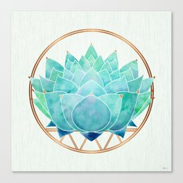 Modern Blue Succulent with Metallic Accents Canvas Print