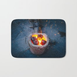 controlled burn Bath Mat