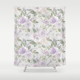 Lavender pastel green white watercolor floral pattern Shower Curtain