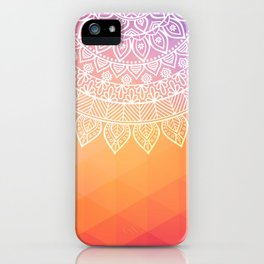 colorful indi pattern, boho print, peach white, henna, beautiful boho, bright popular design iPhone Case