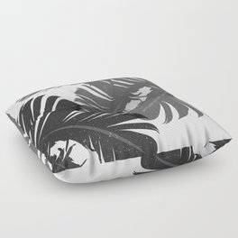 Tropical Leaf Silhouette in Gray Palette Floor Pillow