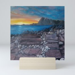 Sunset at Elgol Beach, Fantastic Modern Oil Painting on Canvas, Landscape by Luna Smith Mini Art Print