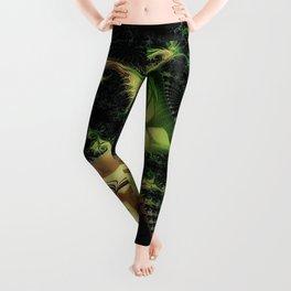 fractal cauliflower green rendered Leggings