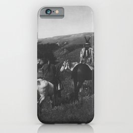 Native American Piegan Tribe, Two Medicine Men - Shaman - with Warrior hilltop above river black and white photograph iPhone Case