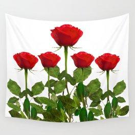 ORIGINAL GARDEN DESIGN OF RED ROSES ON WHITE Wall Tapestry