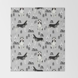 Husky siberian huskies mountains pet portrait dog dogs pet friendly dog breeds gifts Throw Blanket