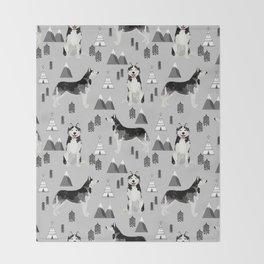 Husky siberian huskies mountains pet portrait dog dogs pet friendly dog breeds gifts Throw Blanket