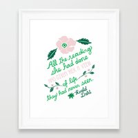roald dahl Framed Art Prints featuring Illustrated Roald Dahl Quote by emily