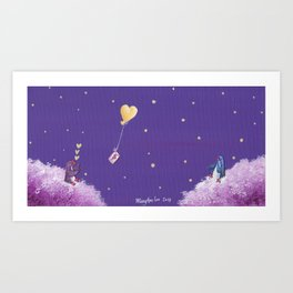 Penguin Sends Love Letter with Heart Balloon to Friend Across Starry Sky Art Print