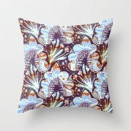 Arabesque Plant Jungle in Lavender, Orange and Purple Ethnic Pattern Illustration Throw Pillow