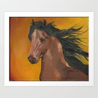 Bay Horse in Oil Art Print