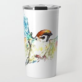 Colorful Sparrow Watercolor Painting Travel Mug
