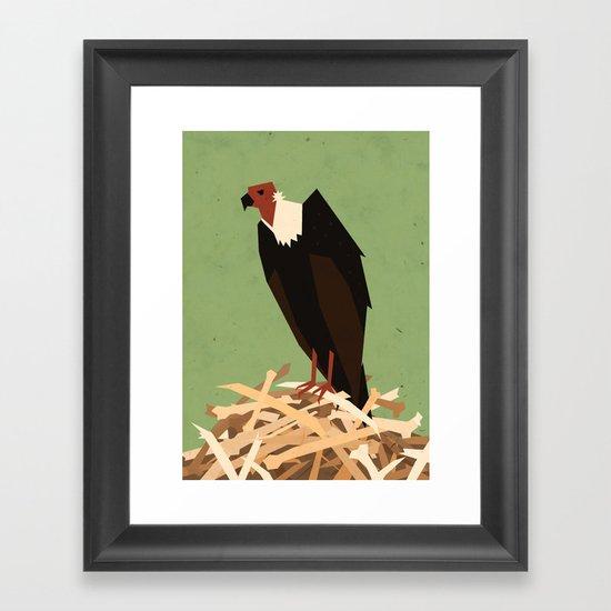 V is for Vulture Framed Art Print