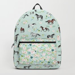 Floral Horse Pattern, Flowers and Horses, Hand Painted, Girl's Room, Romantic Blue Floral Backpack