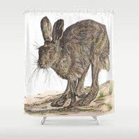 hare Shower Curtains featuring Hare II by Meredith Mackworth-Praed
