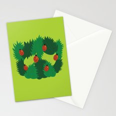 Green Leaves And Ladybugs In Spring Stationery Cards
