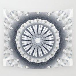 Silver Wedding Inspired Flower Mandala Wall Tapestry