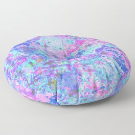 TIME FOR BUBBLY, AGAIN - Pastel Turquoise Baby Blue Purple Pink Feminine Bubbles Abstract Painting Floor Pillow